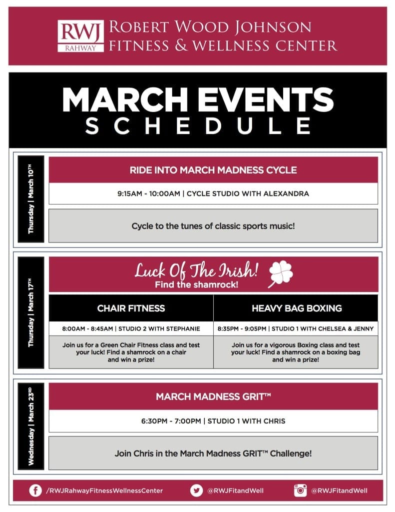 RWJ Rahway Fitness & Wellness Center March 2016 Events