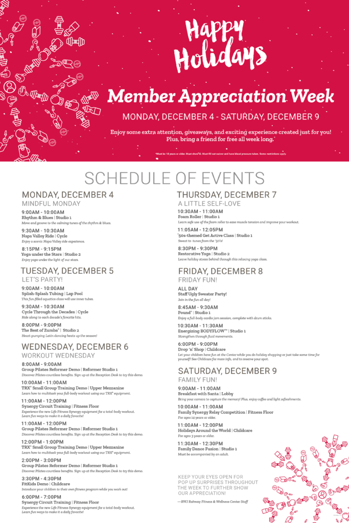 Schedule for RWJ Rahway Fitness & Wellness Center Member Appreciation Week 2017