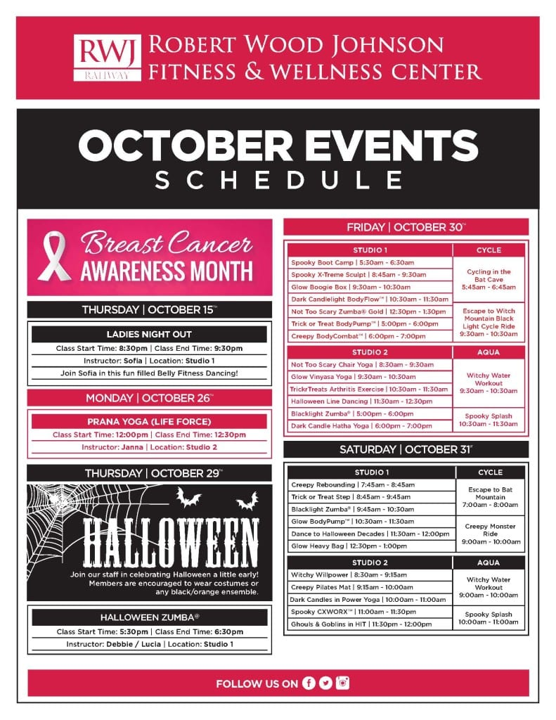 RWJ Rahway Fitness and Wellness Center October Events 2015