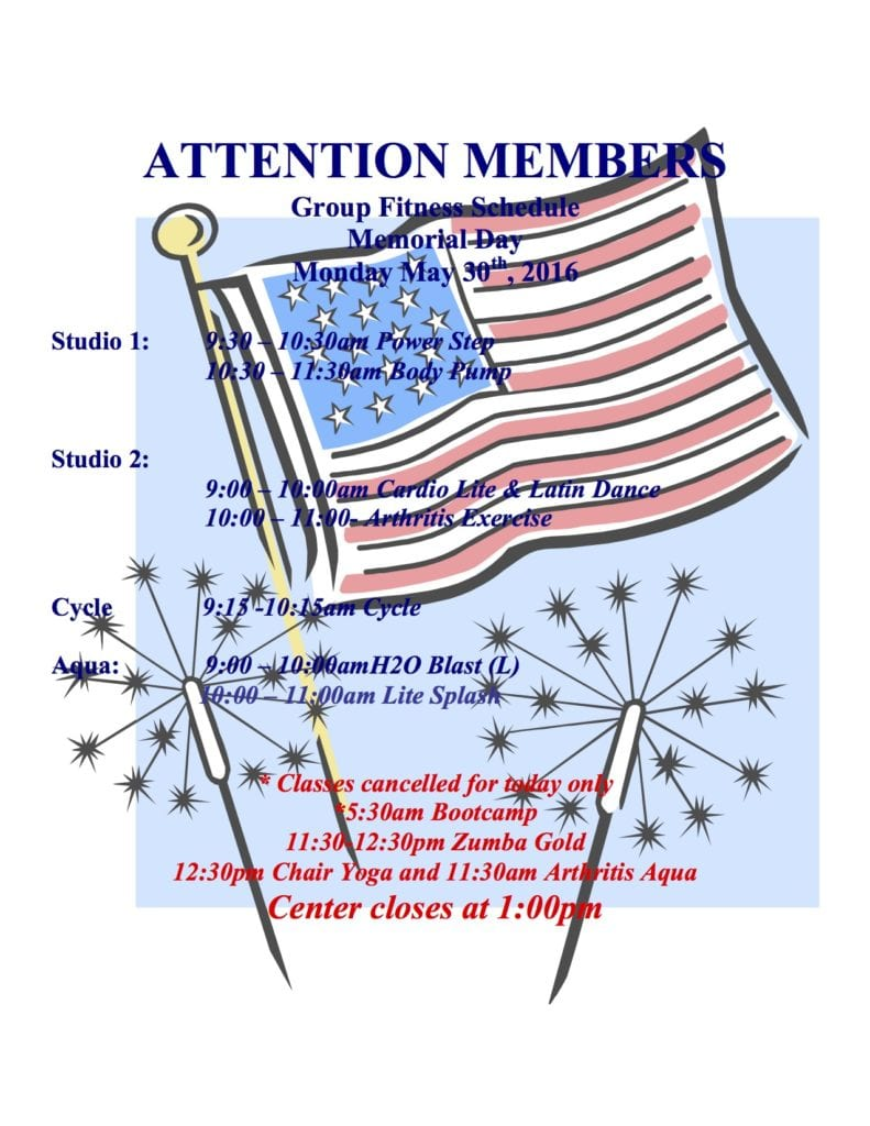 Rahway Memorial Day Group Fitness Schedule 2016