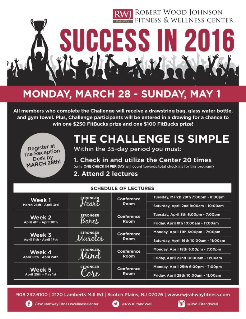 Success in 2016 at RWJ Rahway Fitness & Wellness Center
