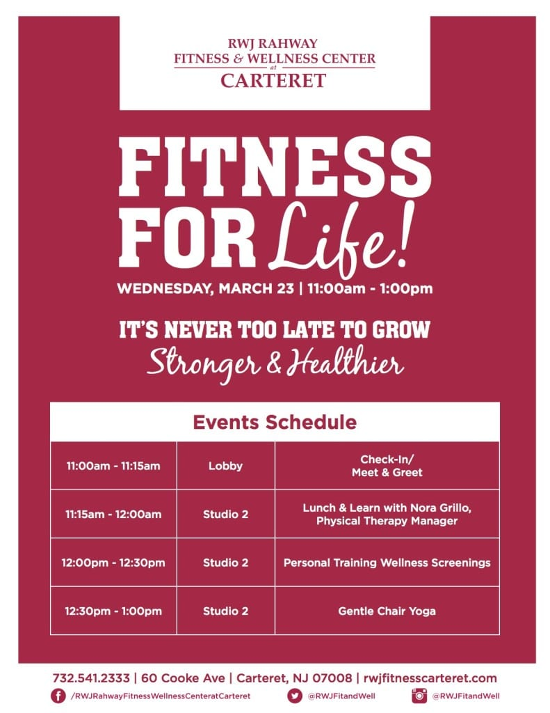 Carteret Fitness for Life Event Schedule