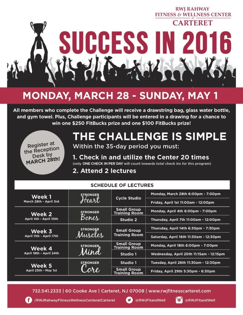 Success in 2016 at RWJ Rahway Fitness & Wellness Center at Carteret